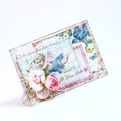 ślub,róże,shabby chic,cherubin - Kartki okolicznościowe - Akcesoria