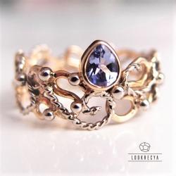 pierścionek zaręczynowy,złoto 14k,tanzanit - Pierścionki - Biżuteria