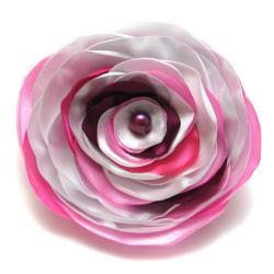 broszka,elegancka,kwiat,satyna - Broszki - Biżuteria