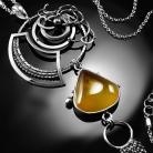 Naszyjniki srebrny,naszyjnik,wire-wrapping,rutyl,żółty,ciba