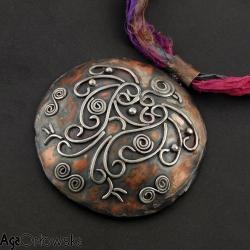 slowiański,etno,miedź,srebro,surowy, - Wisiory - Biżuteria