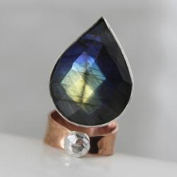 pierścień,labradoryt niebieski,regulowany - Pierścionki - Biżuteria