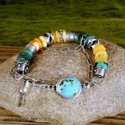 bransoleta z bursztynem i turkusem - Bransoletki - Biżuteria
