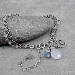 delikatna,księżyc,łańcuszki,trzyrzędowa,krople - Bransoletki - Biżuteria