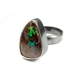boulder,blask,srebrny,opal,australia,magia - Pierścionki - Biżuteria