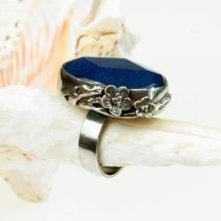 pierścionek,srebrny,autorski,awenturyn,kwiaty,art - Pierścionki - Biżuteria
