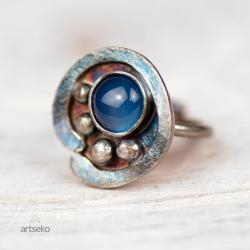 srebrny pierścionek,surowy,z agatem,artseko - Pierścionki - Biżuteria