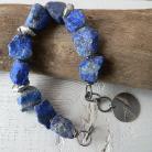 Bransoletki bryłki lapis lazuli,surowa bransoleta,srebro kut