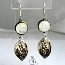 Kolczyki srebrne z kamieniami księżycowymi - Kolczyki - Biżuteria