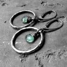 Kolczyki kolczyki boho,srebrne,koła,zielone,kianit