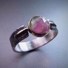 Pierścionki srebrno-złoty pierścionek z turmalinem arbuzowym