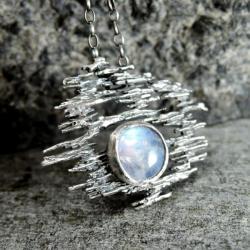 kamień księżycowy,moonstone,surowy,kuty - Naszyjniki - Biżuteria
