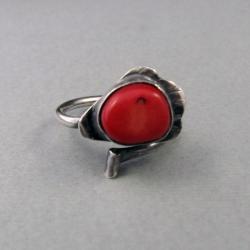 srebro,pierścień,koralowiec,obwód regulowany - Pierścionki - Biżuteria