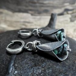 srebrne kolczyki z turkusami - Kolczyki - Biżuteria