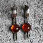 Kolczyki kolczyki,minimalistyczne,bursztyn,srebro