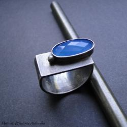 srebro,chalcedon,surowy,sygnet,asymetrczny - Pierścionki - Biżuteria