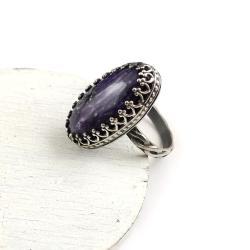 pierścionek,retro,srebrny,fioletowy,czaroit,owalny - Pierścionki - Biżuteria