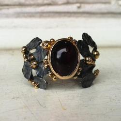 pierścionek,srebro,złoto,opal,brylant - Pierścionki - Biżuteria
