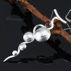 geometryczny,wisior,wisiorek,fakturowane srebro - Naszyjniki - Biżuteria
