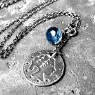 Naszyjniki z monetką,charms,granatowy,srebrny,kwarc,surowy