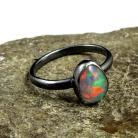 Pierścionki opal,blask,srebrny,srebro,zielony,tęczowy,okaz