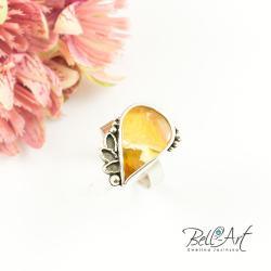 srebrny,z bursztynem,efektowny,finezyjny - Pierścionki - Biżuteria