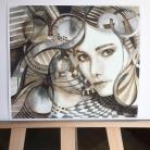 Ilustracje, rysunki, fotografia akwarela,obraz,oryginał,portret,wnętrze,kobieta,