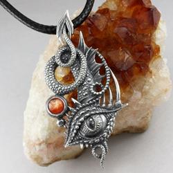 smok,smocze oko,kamień słoneczny,kły,pazury - Wisiory - Biżuteria