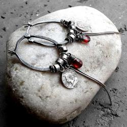 bordowe,srebrne,wiszące,srebro oksydowane,prezent - Kolczyki - Biżuteria