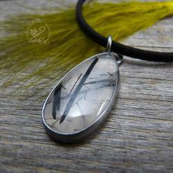 srebrny,kwarc,minerały,elegancki,prosty - Wisiory - Biżuteria