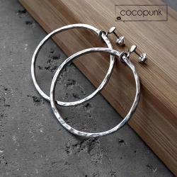 boho,kółka,koła,srebrne,średnie,codzienne - Kolczyki - Biżuteria