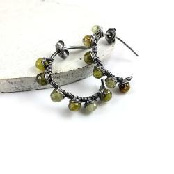 kolczyki,zielone,kółka,wire-wrapping,granat - Kolczyki - Biżuteria