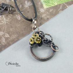 naszyjnik,miedź,kwiaty,romantyczny prezent,boho - Naszyjniki - Biżuteria