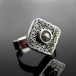 srebro,diament,pierścionek,regulowany - Pierścionki - Biżuteria