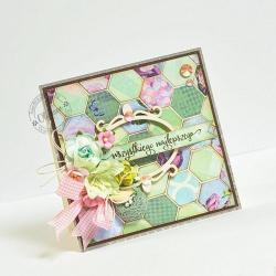 życzenia,ptaszek,patchwork - Kartki okolicznościowe - Akcesoria
