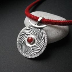 naszyjnik,biżuteria artystyczna,koral,srebro, - Naszyjniki - Biżuteria