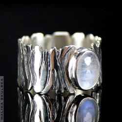 kamień księżycowy,zebra,oksyda,wzór,oryginalny - Pierścionki - Biżuteria