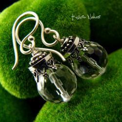 Nehesi,kolczyki,srebrne,kryształem,biglami - Kolczyki - Biżuteria