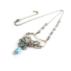 naszyjnik,wire-wrapping,niebieski,larimar,srebrny - Naszyjniki - Biżuteria