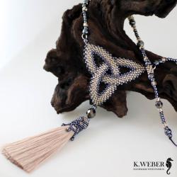 wisior,naszyjnik,węzeł celtycki,beading, - Wisiory - Biżuteria