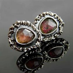 srebro,turmalin,kolczyki,sztyfty - Kolczyki - Biżuteria