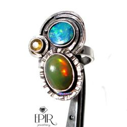 Pierścionek Srebrny Dwa Opale - Pierścionki - Biżuteria
