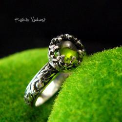 Nehesi,pierścień,srebrny,elfy,delikatny,turmalinem - Pierścionki - Biżuteria