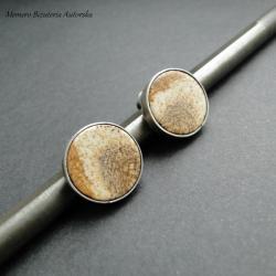 srebro,jaspis,surowe,sztyfty,oksydowane - Kolczyki - Biżuteria