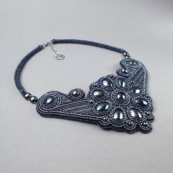hematytowy,naszyjnik,haft koralikowy,mieniący, - Naszyjniki - Biżuteria