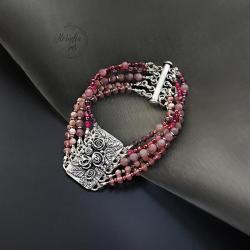 srebrna,bransoletka,z rubinami,srebrna róża - Bransoletki - Biżuteria