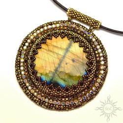 medalion,oko,brązowy,złoty,labradoryt,okrągły - Wisiory - Biżuteria