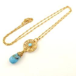 naszyjnik,turkus,złocony,pozłacany,delikatny - Naszyjniki - Biżuteria