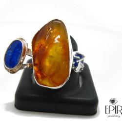 Pierścionek srebrny z naturalnym bursztynem bałtyc - Pierścionki - Biżuteria