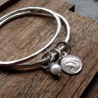 Bransoletki perła,okrągłe,grzechoczące,srebrne,grube